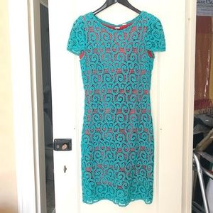 Elie Tahari Teal and Coral Crocheted Lolly Dress